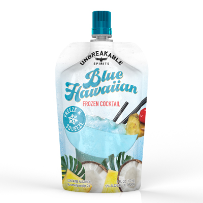 Frozen Blue Hawaiian cocktail pouch
